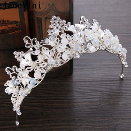 $enCountryForm.capitalKeyWord Australia - JaneVini 2019 Romantic White Bridal Tiaras and Crowns Headbands Beaded Crystal Princess Pageant Ornaments Wedding Jewelry Hair Accessories