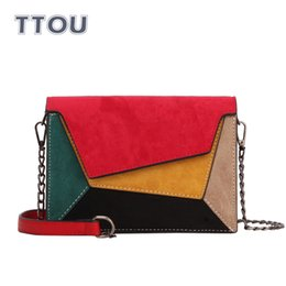 criss cross chain Australia - TTOU Fashion Patchwork Leather Messenger Bag Women Flap Multi Color Criss-Cross Chain Strap Shoulder Bag Small Ladies Casual Bag