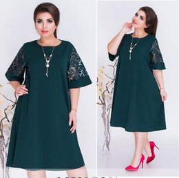 bf51c986002 6xl Women Office Lady Plus Size Casual Clothes Loose Lace Short Sleeve Summer  Green Red Party Midi Dress Vestidos C19040301