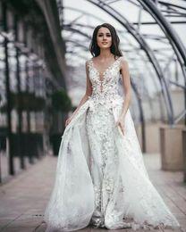 $enCountryForm.capitalKeyWord Australia - New Modest A Line Lace Wedding Dresses With Overskirts Appliques Sheer Plunging Neck Plus Size Bridal Gowns Sweep Train Vestido De Novia