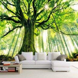 Toptan satış 3D Duvar Duvar Kağıdı Doğal Peyzaj Yükselen Eski Ağaçlar Fotoğraf Duvarları Duvarlar Için 3D Oturma Odası Kanepe Zemin Kağıtları