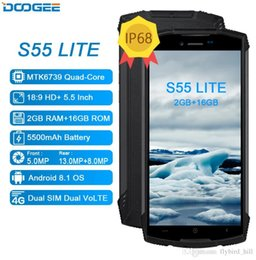 "Discount smartphone octa core 2gb - Doogee S55 lite 18:9 IP68 Waterproof Rugged smartphone Android 8.1 5.5"" MTK6739 2GB+16GB 5500mAh Dual Rear camera 1"