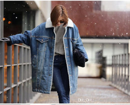 Wholesale women denim trench coat for sale - Group buy Coats Luxury Denim Wool Liner Trench Coats Fashion Oversize Womens Casual Jeans Coat Womens Designer Winter
