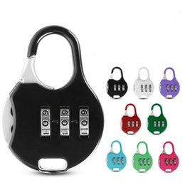 Stationery Australia - Color Mini Padlock For Backpack Suitcase Stationery Password Lock Outdoor Travel GYM Locker Security Metal Cartoon Padlock MMA1694