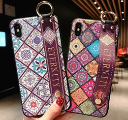 Vintage rose phone online shopping - Wrist Strap GOOD phone case Soft TPU NICE Phone Case For iphone X Xs max XR Vintage Flower Pattern Holder Case