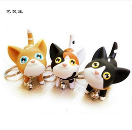 model pussy NZ - Kitty Cat Doll Key Chain White Black Yellow And Multicolour Pussy Key Chain Ring Kitty Kitten Model Chaveiro Keychain Cat