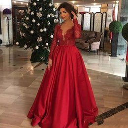 Discount satin caftans - Evening Dresses 2019 New With A-line Dubai Kaftan Appliqued Long Caftan Abaya In Dubai Long Sleeve Arabic Dress Muslim P