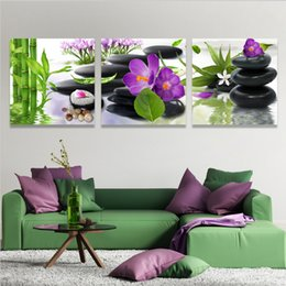 zen wall art Australia - Zen Stone Purple Flower,3 Pieces Canvas Prints Wall Art Oil Painting Home Decor (Unframed Framed) 16x16x3.