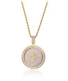$enCountryForm.capitalKeyWord Australia - hip hop dollars money diamonds pendant necklaces for men women Rotatable luxury crystal round pendants 18k gold plated copper zircon gift