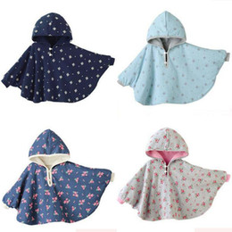Girls Cotton Poncho Wholesale Australia - Winter Baby Clothes Hoodies Coat Combi Reversible Mantles Boys Girls Blouses Outerwear 4 Styles Free Shipping
