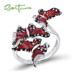 Butterfly Rings For Women Australia - Santuzza Silver Ring For Women Genuine 100% 925 Sterling Silver Red Butterflies Ring Trendy Fashion Jewelry Handmade Enamel J 190515