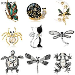 Frog Gold 18k Australia - Vintage Simulated Pearl Crystal Cat Frog Bee Moon dragonfly butterfly Pin Brooch Antique Pin Women Brooch Pin Costume jewelry