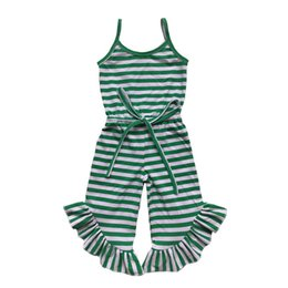 navy stripes UK - Newest Baby Girls Jumpsuit Summer Green Red Black Stripe Ruffle Pant Girls Romper Toddler One Piece Outfit 1-6t Y19050602