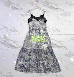 Lace Print Shirt Australia - High End Women Vintage Jungle Camisole Tee Midi Dress With Lace T-Shirt Female Beads Runway Vest Mermaid Shirt Long Sling Dress SML