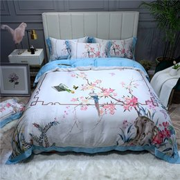 birds bedding queen Australia - Birds Flowers printed Tencel-lyocell 4Pieces Duvet cover Softest Silky Breathable for Naked sleep Queen King size Bed sheet set