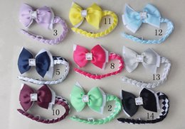 $enCountryForm.capitalKeyWord Australia - 50pcs girl Synthetic hair Bun wraps bows clips with square crystal buckles Ponytail Holder Donut Ring Head Wrap Hairband Headband PD020