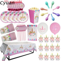 $enCountryForm.capitalKeyWord Australia - Cyuan Unicorn Party Disposable Tableware Set Kids Birthday Party Paper Cup Plate Hat 1st First Birthday Decor Supplies