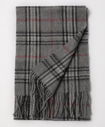 striped poncho women UK - Autumn and winter men and women fashion new wool lattice classic long scarf striped business warm wool tassel scarf