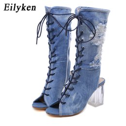 denim peep toe UK - Hot Sale-2020 New Women Ankle Boots Blue Denim Gladiator Crystal Clear High heels Boots Sandals Cross Tied Peep Toe Ladies Boot
