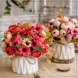 artificial plants vase Australia - Flower and Vase Set Artificial Flowers Rose Decoration Maison for Easter Home Wedding Christmas Fake Plants Roses Peonies Party