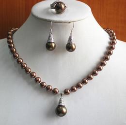 $enCountryForm.capitalKeyWord Australia - Prett Lovely Women's Wedding birthday gift! jewelry set!Wholesale noble Women's coffee pearl  Necklace earring ring(7 8 9) set #