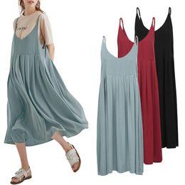 $enCountryForm.capitalKeyWord Australia - Plus Size 3xl 4xl 5xl Slip Summer Dress 2019 Women Cotton Dress Spaghetti Straps High Waist Vintage Loose Robe Casual Midi Dress