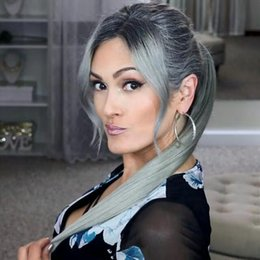 real hair ponytails NZ - Women gray hair ponytail extension silver grey afro silky straight virgin human drawstring human hair ponytails clip in real hair Hot sale