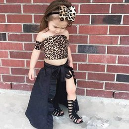 Leopard Kids T Shirts Australia - Girl 4 piece set dress Strapless t-shirt+Shorts+Dress+Headband leopard print Crop top+head wrap+shorts+Skirt suit kids summer clothes 388