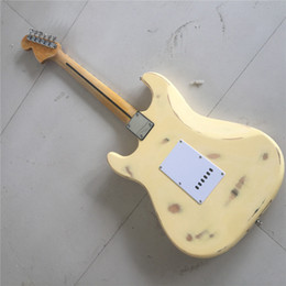 scalloped guitars 2019 - Free ShippingElectric Guitar,Cream Yellow Color Body,Reverse Headstock,Maple Fingerboard,22 Frets,In Relic Style,Scallop