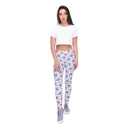 watermelon leggings UK - Woman Leggings Watermelon Dot Blue 3D Graphic Full Printed Full Length Yoga Wear Pants Lady Workout Pencil Fit Girl Casual Trousers (Y52112)