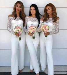 Cheap Sheer Top Prom Dress Australia - Elegant Women Jumpsuits Prom Party Wear Sexy Off Shoulder Sheer Long Sleeves Top Lace Cheap Girls Bridesmaid Dress Special Occasion Gown