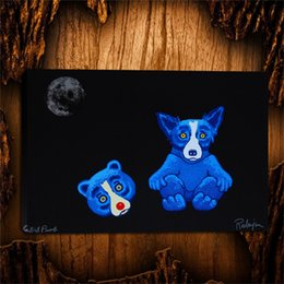 Spray Suit Australia - Blue Dogs Dog In A Bear Suit -1,1 Pieces Canvas Prints Wall Art Oil Painting Home Decor (Unframed Framed) 24X36.