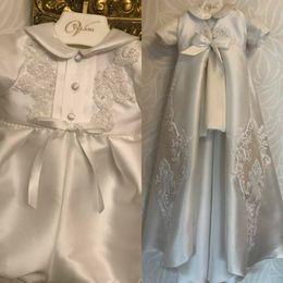White Communion Dresses Short Australia - Baby Christening Gowns Lace Short Sleeve Satin Baptism Holy First Communion Dresses Infants For Baby Girls Trottie Nursling Dress