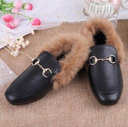 2019 kış kürklü kadın bezelye ayakkabı Düz taban sıcak artı kadife kürk ayakkabı Yabani tek bacaklı tembel Düz Casual Ayakkabı Kürk Kabarık aylaklarının womens indirimde