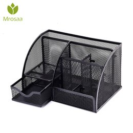 office desk supplies Australia - 7 Cell Metal Mesh Desktop Office Pen Pencil Holder Iron Desk Organizer for Scissors Ruler Stationery School Supplies Accessories SH190926