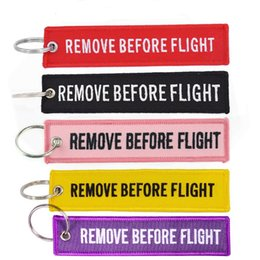 Chinese  Keychain REMOVE BEFORE FLIGHT Embroidered Canvas Color Optional Woven Keyring Luggage Tag Label Key chain Aviation Gift For Adults Kids manufacturers