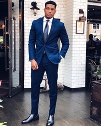 Light yeLLow suit online shopping - Blue Fashion Men s Suits Blazers Formal Occasion Mens Tuxedos Suits For Weddings Parties Prom Bridegroom Jacket Pants
