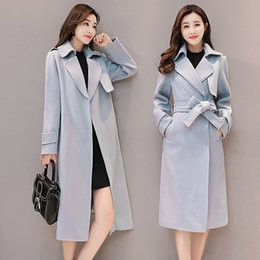 women office clothing Australia - Office Lady Slim Long Coat for Women Turn-down Collar Wool Coat and Jacket Belt Pockets Women Clothes 2018