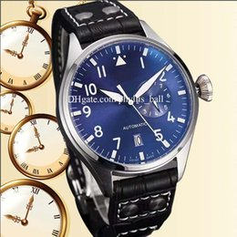 China High Quality LUXURY heuer watch Men Large Pilot 500401 Black  Blue Dial Leather strap Movement Automatic Mens Watch Men's Watches NEW cheap pilot watch dial suppliers