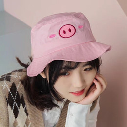 f21ab2e1252035 2019 New Hot Sale Cute Pig embroidery bucket hat for girls women hip hop  fisherman hat Adult panama bob summer flat