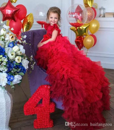 $enCountryForm.capitalKeyWord Australia - Pretty Red Flower Girl Dresses Jewel Neck Tiered Ruffles Cap Sleeve Sweep Train Girls Pageant Dress Customized Kids Costumes Formal Wear