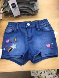 EmbroidEry dEsigns flowEr girl online shopping - New Summer Cotton flowers Rainbow Embroidery Design Girls Kids short Pants girls causal summer Denim Shorts free ship