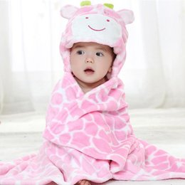 newborn hooded blanket NZ - Giraffe Bear shaped Baby Hooded Bathrobe Soft Infant Newborn Bath Towel Blanket