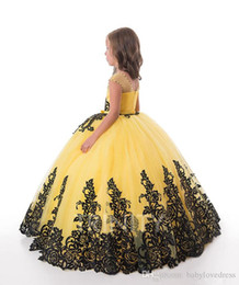 bright color gown NZ - Bright Yellow Flower Girl Dresses Black Lace Applique Girls' Pageant Dresses Holidays Birthday Communion Dress Skirt Custom Size