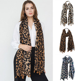 Scarfs Cotton Printed Australia - Leopard Printing Twill Tassel Scarf 90*180cm Breathable Autumn Classical Women Winter Linen Cotton Shawl Scarves Wraps OOA6043