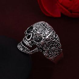 skull ring sizes 2019 - Hot Anti silver Colors Retro Royal Flower Carved Skull Rings 3D Ring mic 4 sizes for choices cheap skull ring sizes