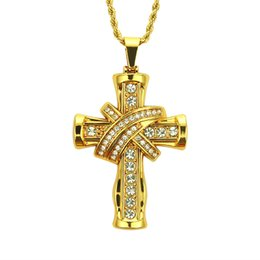Necklace three crosses online shopping - Man Arrogance Diamond Three dimensional Cross Style Pendeloque Cut Necklace Hip Hop Jewelry Pendant Engagement Masonic Bijoux Packers