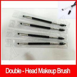 China shipping hair online shopping - epacket china Post Makeup Eye Brow Eyebrow Brush Synthetic Duo Makeup Brushes Double Eyebrow Brush Head Brushes Kit Pincei