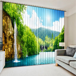 Curtain Painting Australia - Landscape waterfalls Curtains Photo Painting Blackout Curtain For Living Room 3D Curtains home Decoration