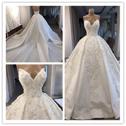Castle Bling Wedding Dress Canada - Real Photo White Ball Gown Plus Size Satin Wedding Dresses Bridal Gown Bling Long Train 2019 New Renaissance Medieval Dresses